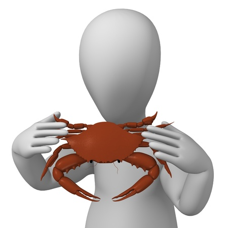 crocket: 3d render of cartoon character with crab Stock Photo