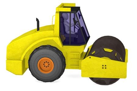 steamroller: 3d render of cartoon character with crane