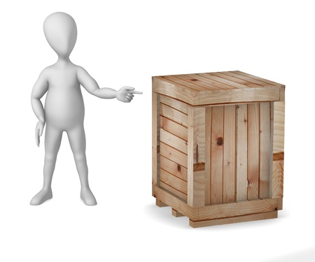 3d render of cartoon character with crate photo