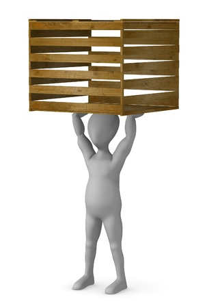 3d render of cartoon character with crate Stock Photo - 12959173