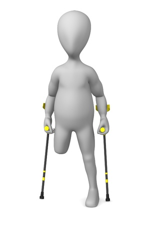 3d render of cartoon character with crutches  photo