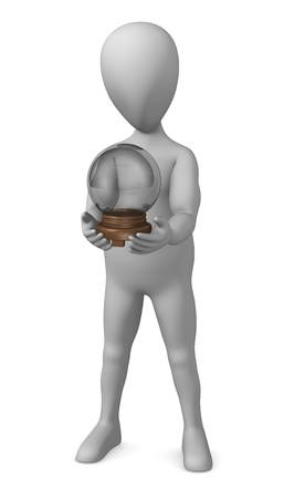 3d render of cartoon character with crystal ball Stock Photo - 12919465