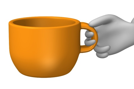 3d render of cartoon character with cup Stock Photo - 12919495