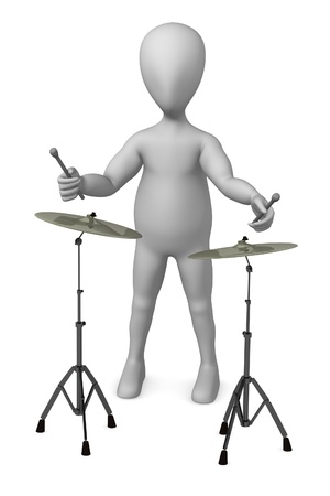strains: 3d render of cartoon character with cymbal