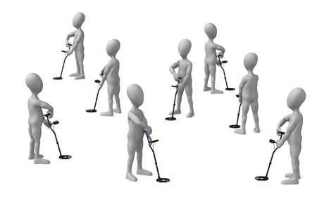 3d render of cartoon character with metal detector  Stock Photo - 12949655