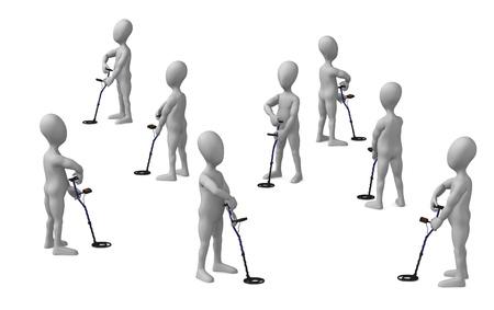 3d render of cartoon character with metal detector Stock Photo - 12949655