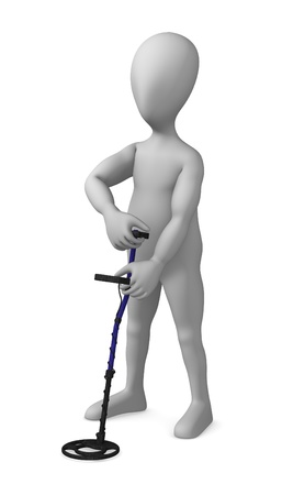 3d render of cartoon character with metal detector  photo