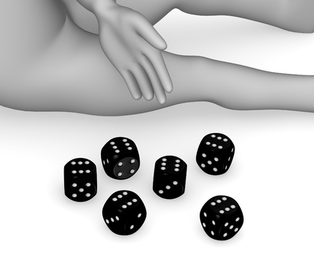 backgammon: 3d render of cartoon character with dices