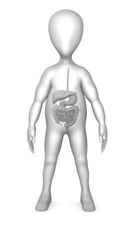 male large intestine: 3d render of cartoon character with digestive system