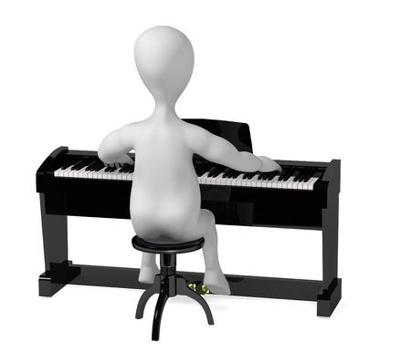 strains: 3d render of cartoon character digital piano