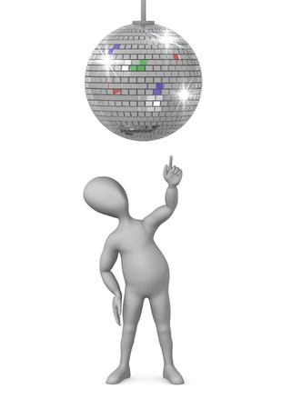 3d render of cartoon character with discoball