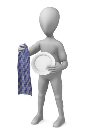 3d render of cartoon character with dishcloth photo
