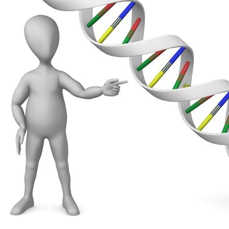 guanine: 3d render of cartoon character with DNA molecule