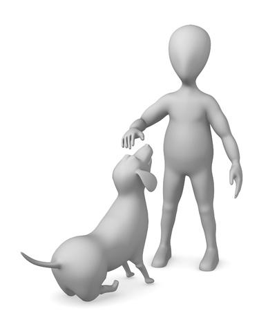 3d render of cartoon character with dog photo
