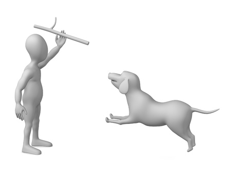 stockie: 3d render of cartoon character with dog