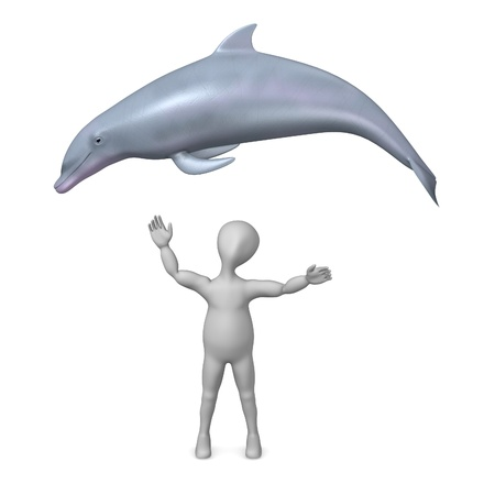 3d render of cartoon character with dolphin photo