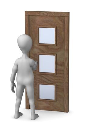 3d render of cartoon character with door photo