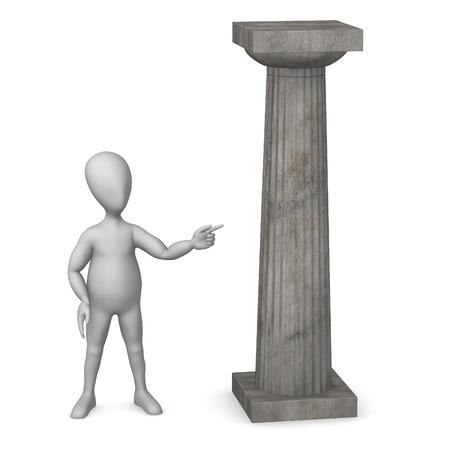 doric: 3d render of cartoon character with doric column