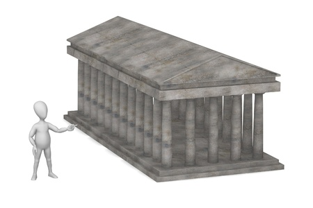 doric: 3d render of cartoon character with doric temple