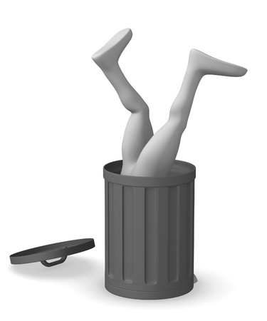3d render of cartoon character with dustbin  photo