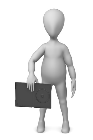 dvd case: 3d render of cartoon character with DVD case