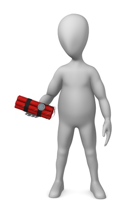 3d render of cartoon character with dynamite Stock Photo - 12948982