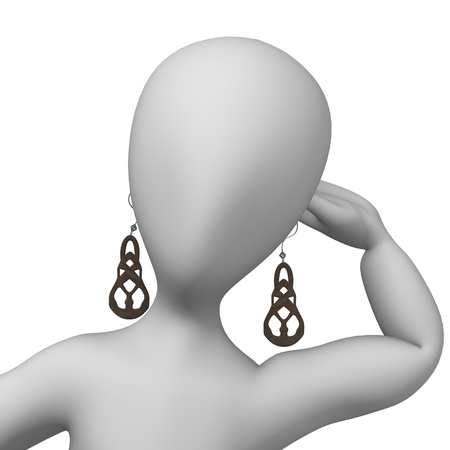 ear drop: 3d render of cartoon character with earings