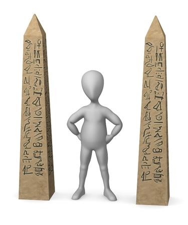 obelisk stone: 3d render of cartoon character with egypt obelisk