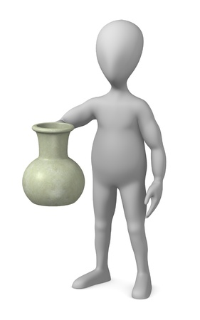 3d render of cartoon character with egypt vase  photo