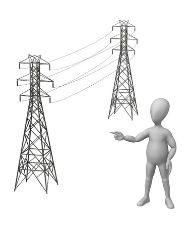 powerline: 3d render of cartoon character and electric line   Stock Photo