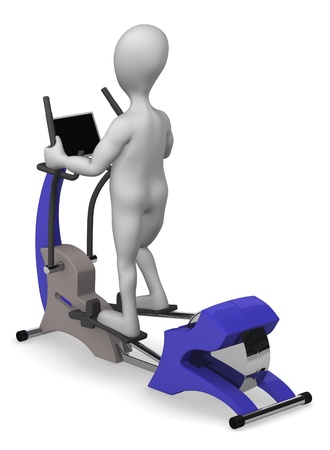 elliptical: 3d render of cartoon character with elliptical