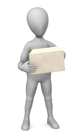 3d render of cartoon character with envelope Stock Photo - 12919593
