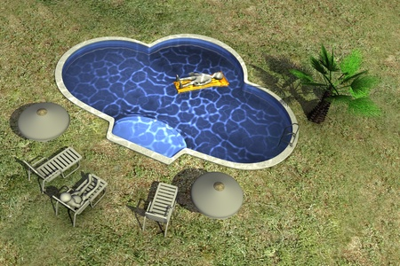 3d render of cartoon character and swimming pool  photo