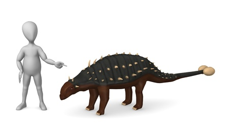 stockie: 3d render of cartoon character with dinosaur