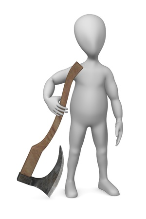 3d render of cartoon character with execution axe  photo