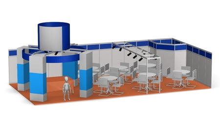 vitrine: 3d render of cartoon character with exhibition stand