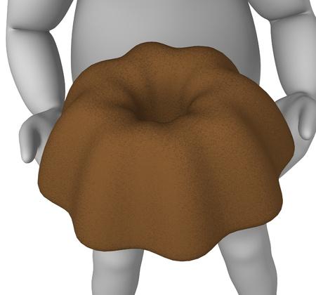 alsatian: 3d render of cartoon character with fancy bread