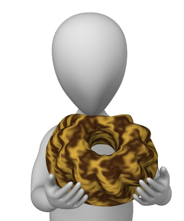 alsatian: 3d render of cartoon character with fancy bread