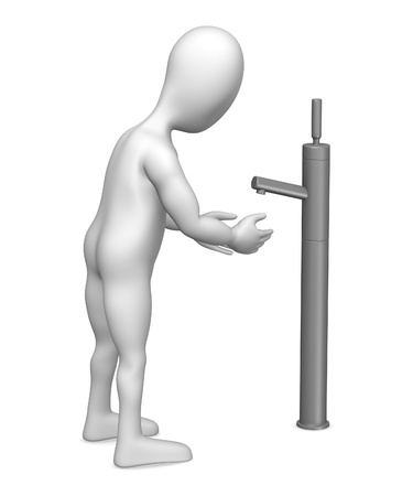 3d render of cartoon character with faucet photo
