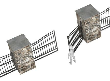 3d render of cartoon character with fence Stock Photo - 12985420