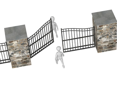 3d render of cartoon character with fence Stock Photo - 12985461