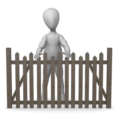 3d render of cartoon character with fence Stock Photo - 12959298