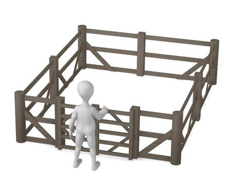 3d render of cartoon character with fence Stock Photo - 12958772