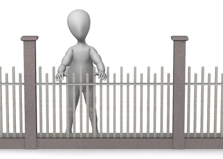 3d render of cartoon character with fence Stock Photo - 12985195