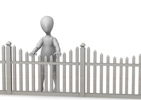 3d render of cartoon character with fence Stock Photo - 12959304
