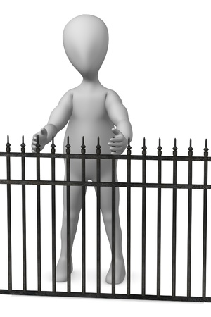 3d render of cartoon character with fence Stock Photo - 12958148