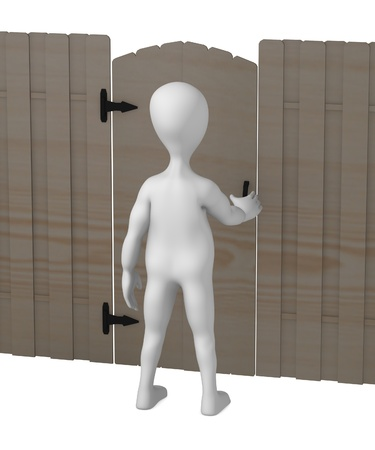 3d render of cartoon character with fence Stock Photo - 12958212