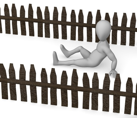 stockade: 3d render of cartoon character with fence