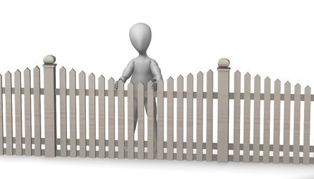 3d render of cartoon character with fence Stock Photo - 12959174
