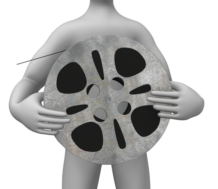 3d render of cartoon character with film reel photo